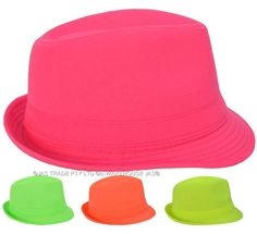 Fluro 80s 80's Party Dance Costume Fedora Ganster Trilby Cap Hat | eBay