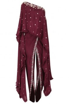 Monika Nidhii presents Wine one shoulder embroidered cape with dhoti pants set available only at Pernia's Pop Up Shop. Lehenga Designs Simple, Kurta Designs, Blouse Designs, Western Dresses, Indian Dresses, Indian Outfits, Indian Designer Outfits, Designer Dresses, India Fashion