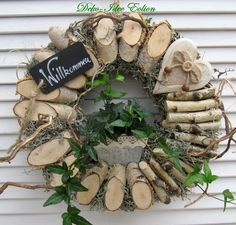 Wreath made with sliced birch branches.