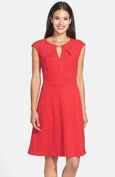 Donna Ricco Bar Neck Textured Crepe Fit & Flare Dress (Regular & Petite) available at #Nordstrom