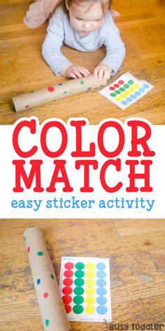 Easy Color Matching Activity: a quick and easy toddler activity with dot stickers; check out this fun idea for toddlers