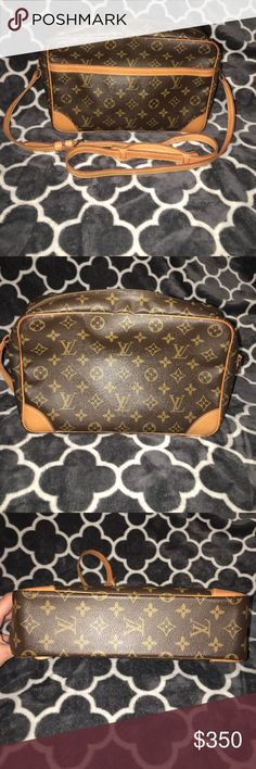 Louis Vuitton Trocadero Monogram Bag Vintage style bag in good use condition considering the age of the bag. The gold hardware is still good without any wear. The side pockets do have peeling and is sticky inside, but that appears to be normal for this bag. The inside of the bag had some small ink stains on the corner as shown in pictures. The adjustable straps have turned a beautiful honey patina color. I'm not sure which size this is as it was my grandmothers bag. Serial number inside is…