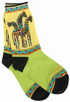 Laurel Burch Socks Giraffes Yellow,Green