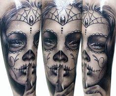 Realism Muerte Tattoo by Zsofia Belteczky - http://worldtattoosgallery.com/realism-muerte-tattoo-by-zsofia-belteczky-3/