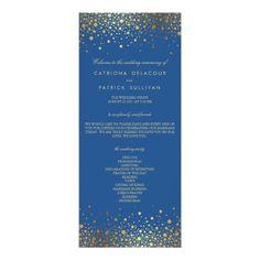 Faux Gold Foil Confetti Blue Wedding Program