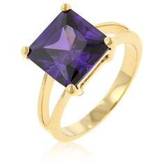 Gold Amethyst Ring Purple Cubic Zirconia Princess Cut Plus Size 8 9 10 USASeller #Solitaire