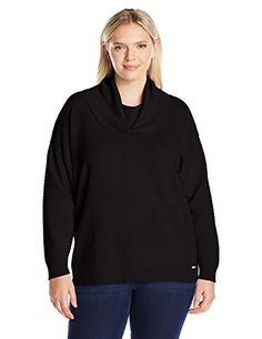 Calvin Klein Women's Plus Size Cowl Neck Rib Swtr, Black, 1X