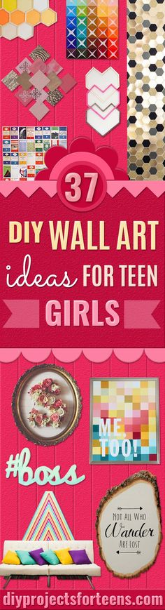 DIY Wall Art Ideas for Teen Rooms -  Cheap and Easy Wall Art Projects for Teenagers - Girls Crafts for Walls in Bedrooms - Fun Home Decor on A Budget - Cool Canvas Art, Paintings and DIY Projects for Teens, Tweens, Teenage Girl  via @diyprojectteens Diy Home Decor For Teens, Art Ideas For Teens, Diy Projects For Teens, Art Projects, Simple Wall Art, Diy Wall Art, Easy Wall, Crafts For Girls, Diy For Girls