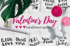 10 Valentine's Day handdrawn quotes.