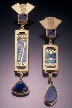 Earrings | James Carter. James is a goldsmith who specializes in cloisonné enameling, one-of-a-kind gold and silver jewelry.