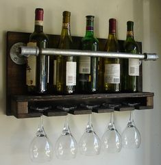 Industrial Rustic Modern 6 Bottle Wall Mount Wine Rack With 4 Glass Slot Holder