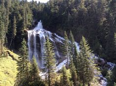 Pyramid Falls off Mount Cheadle in Canadian Rockies as seen from Rocky Mountaineer train! #Canada @RMountaineer