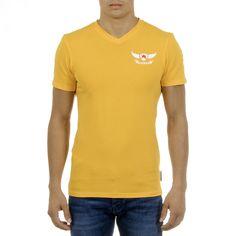 Andrew Charles Mens T-Shirt Short Sleeves V-Neck Yellow KENAN – Reseller Hub Mens Sleeve, Logo Sign, Polo Ralph Lauren, Short Sleeves, Spring Summer, V Neck, Slim, Yellow, Mens Tops