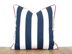 Blue stripe pillow cover garden decor, blue and white outdoor pillow red piping, nautical cushion outdoor, blue outdoor pillow beach decor
