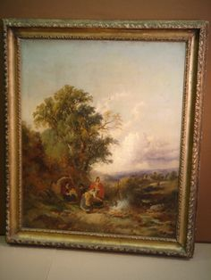 Description;- Oil painting - 19th Century landscape by Joseph Horlor - carved and gilded frame. Size 30'' x 25''. **Available to hire** (Stock code;- SP010965). www.farley.co.uk