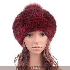 MBA Furs-Lady's Knit Mink Fur Beret with Fur Pom Pom FH-092(4)(Wine)