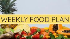 A youtube video template. A background image of lots of different healthy foods laid out with a light yellow textbox displaying weekly food plan. Youtube Video Template, Youtube Video Thumbnail, Healthy Foods, Healthy Recipes, Creative Video, Food Plan, Different Recipes, Background Images, Meal Planning