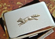 Silver Fox Business Card Case Victorian Steampunk Vintage Inspired Style Nickel Silver Card Holder