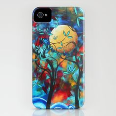 Original Bold Vibrant Art Colorful Landscape Painting LOVERS MOON by MADART iPhone Case by Megan Duncanson - $35.00