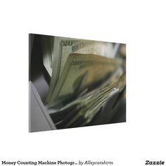 Money Counting Machine Photograph Canvas Print
