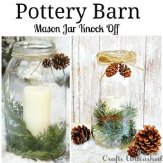 Pottery Barn Inspired Mason Jar Vase Christmas Craft Ideas and Projects All Things Christmas, Winter Christmas, Christmas Holidays, Christmas Decorations, Rustic Christmas, Pottery Barn Christmas, Mason Jar Projects, Mason Jar Crafts, Diy Projects