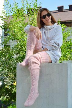 Thigh high socks Sexy stockings EXTRA LONG Slouchy leg warmer Over knee socks Boot socks Gift for her Knitted socks Custom socks Angora, Thigh High Socks, Thigh Highs, Bas Sexy, Cozy Fashion, Fashion Goth, Custom Socks, No Show Socks