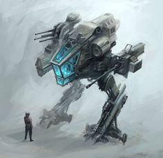 """Mech"" by Alex Ichim (alex-ichim) Blade Runner, Cyberpunk, Starwars, Fighting Robots, Futuristic Technology, Retro Futuristic, Conceptual Design, Matte Painting, Science Fiction Art"