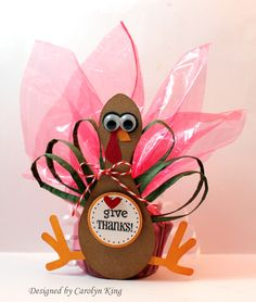 Turkey treat holder for Thanksgiving place setting (just add names) or as a favor!