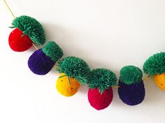 Fruit & Vegetable Pom Pom Garland by greenlaundry on Etsy