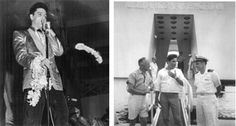 Elvis Presley performed a charity concert to raise money for the USS Arizona Memorial at Bloch Arena March 25, 1961.  Elvis Presley visited the completed USS Arizona Memorial Aug. 15, 1965. Photos courtesy of Honolulu Star-Advertiser archives.