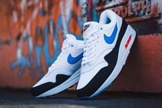 huge selection of 9d8dd 8b5e9 Nike Air Max 1 in White, Photo Blue   Total Orange
