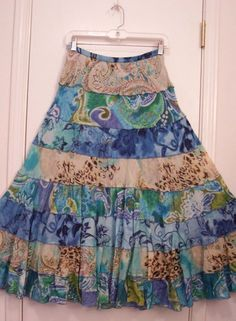 8 Tiered LINED Muliti Color & Print FLORAL Hippie Gypsy Peasant Skirt/M