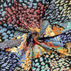 RARE Auth Hermes Paris RENCONTRE OCEANE Silk Scarf Foulard ANNIE FAIVRE 90cm #HERMES