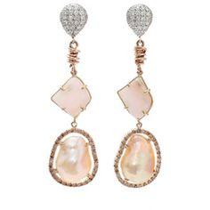 Jordan Alexander Beige Pearl Slice Earrings