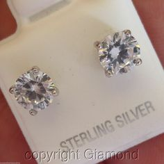 1.5cts Round Brilliant cut Stud Earrings 950 Platinum over Solid Sterling Silver #Giamond #Stud Round Earrings, Diamond Earrings, Luxury Jewelry, Fine Jewelry, Jewellery, Diamond Cuts, Vintage Jewelry, Fashion Jewelry, Sterling Silver