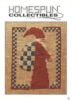 Homespun Collectibles 3 Santa With Checkered Bag Counted Cross Stitch OOP #HomespunCollectibles
