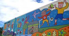 Sunalta School mural in Calgary. Myself and 15 volunteers finished this mural in One of the largest public murals in Calgary. Wedding Ideas Calgary, School Murals, Activity Room, Team Building, Dean Stanton, Street Art, Art Pieces, Mural Ideas, Activities