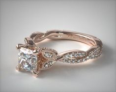 Steal her heart once and for all with this rose gold morganite engagement ring from Camellia Jewelry. Scrupulously handmade to perfection, this unique morganite bridal ring will make her look and feel like a princess. It features a stylized band that Classic Engagement Rings, Beautiful Engagement Rings, Engagement Ring Styles, Rose Gold Engagement Ring, Designer Engagement Rings, Solitaire Engagement, Nature Engagement Rings, Vintage Inspired Engagement Rings, Different Engagement Rings