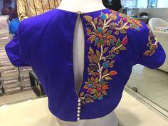 One side work blouse Hand Work Blouse Design, Simple Blouse Designs, Saree Blouse Neck Designs, Bridal Blouse Designs, Blouse Patterns, Mehndi, Maggam Work Designs, Indian Designer Wear, Lady