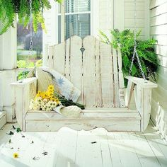 I love the look of this Nantucket Outdoor Porch Swing - I want this for my front porch! Outdoor Spaces, Outdoor Living, Outdoor Decor, Outdoor Furniture, Outdoor Swings, Porch Furniture, Wooden Furniture, Furniture Ideas, Lawn And Garden