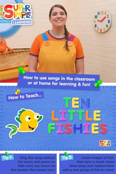 Caitie demonstrates the gestures and shares some activity ideas for the song Ten Little Fishies. Perfect for ESL, EFL, preschool, and kindergarten classes! Toddler Preschool, Preschool Crafts, Diy Crafts For Kids, Counting Songs, Counting Activities, Popular Kids Songs, English Language Learners, Kindergarten Class, English Classroom