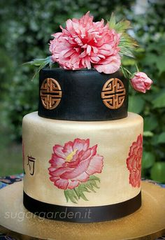 Carnations cake-Chinese themed cake