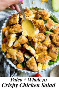Crispy Chicken Salad with Honey Mustard Dressing Paleo Option This crispy chicken salad is topped with a perfectly sweet tangy honey mustard dressing! The salad I grew up loving made paleo with a option! Crispy Chicken Salads, Chicken Salad Recipes, Breaded Chicken, Quinoa, Paleo Running Momma, Grain Free Bread, Honey Mustard Dressing, Whole 30 Recipes, Clean Eating Recipes
