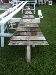 Pallet Christmas Tree that was made from weather pallet wood.
