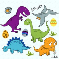 Free Printable Dinosaur Crafts | Dinosaur Digital clip art set for Scrapbooking, Invitation, Card - BUY ...