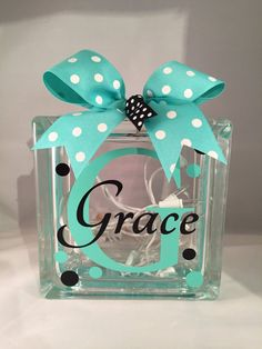 This customizable glass block makes a great nightlight for any room. The design and colors can be customized to coordinate with any room. The
