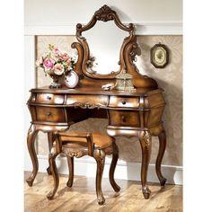 Antique Bedroom Vanity Makeup Dressing Table Desk w Gorgeous Mirror ...
