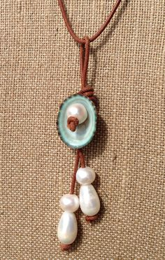 Limpet shell freshwater pearl and leather by sandandseapearls