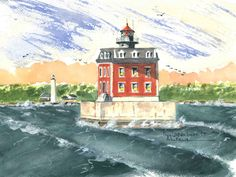 New London Ledge, New London Watercolor prints and note cards of over 250 lighthouses all over the USA.  Start your collection today. Original paintings by sailor/artist  Alfred La Banca, Darien, CT