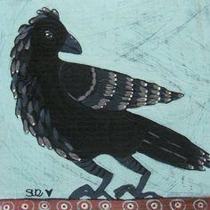 Primitive FolkArt Black Bird/Crow Print of by digiliodesigns, $12.00